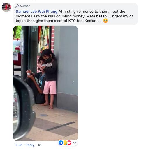 Aksi kanak-kanak kelaparan kira duit tepi restoran, diberi KFC oleh pengunjung bikin netizen nangis